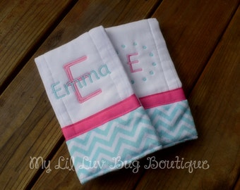 Personalized Burp cloth set prefold diaper-hot pink with topaz and white mini chevron print- set of two