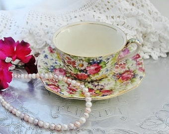 January Sale-Chintz Cup and Saucer Set, Vintage Royal Winton Grimwades Teacup and Saucer Set, by EyeCandyandMore on Etsy