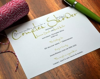 Couples Shower Party Invitations  / Party Invite / Birthday Party Invitation /  Rehearsal Dinner Invitation / Wedding