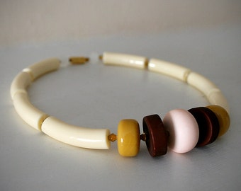 "Vintage Lucite Necklace in Shades of Cream, Mustard Yellow, Pink, Maroon and Gold  / ""RAYE"""