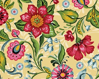 Flower Drops from P&B Textiles - Painted Floral in Cream Flowers in Red and Pink on Cream Quilt Fabric