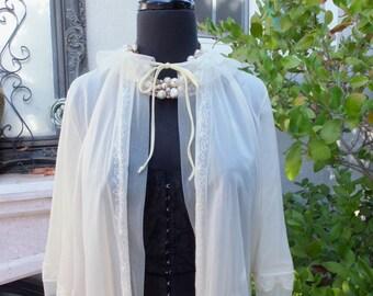 1950s Sheer Ruffle Bed Jacket by  Van Raalte Pale Yellow Nylon Bed Jacket Size M