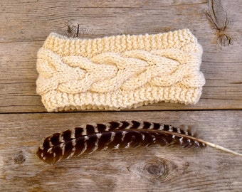Women's Chunky, Cable Knit Headband in Heathered Oatmeal, Off White, Natural