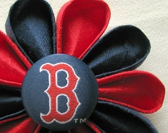 Boston Red Sox Boutonniere Red and Navy Blue Silk Kanzashi Flower Pin with Logo Button