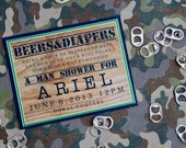 CUSTOM Beer & Diapers Man Shower Invitation