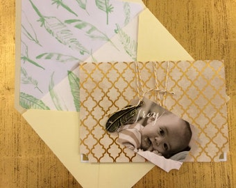CUSTOM Gold/Mint Baby Blessing Invitation