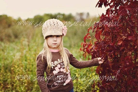 Jute Crochet Newsboy Hat for Girls, Toddler Girl's Hat with Flower, Little Girl's Hat, Crochet Toddler Hat, Cotton,  12 Months to 4T