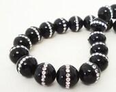 Onyx Beads - Onyx with Rhinestone Embedded Inlaid Beads - Black Smooth Round Beads - 13mm - Jewelry Making - 2 Beads - Bulk Options