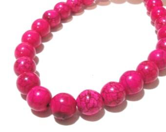 """Pink Round Beads - Round Howlite Gemstone Beads -Smooth Round Ball - 10mm - 16"""" Full Strand - Dark veins Matrix Stone - DIY Jewelry Making"""