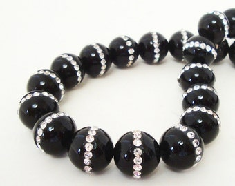 Onyx Beads - Onyx with Rhinestone Embedded Inlaid Beads - Black Smooth Round Beads - 13mm - Jewelry Making - 2 Beads - Bulk Options Beads