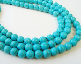 Turquoise Round Beads, Blue Round Howlite Gemstone Beads, Turquoise Smooth ball Beads, 6mm Full Strand, Beads for Jewelry Making, Craft DIY