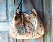 Hobo with Ecru and Blue Chenille Renaissance Inspired Carpet Bag  with Brown Leather