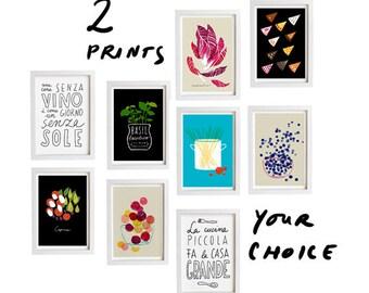 "Your Choice Print Set of 2 - 11""x15"" - Food Art - Kitchen Print Set - archival fine art giclee prints"
