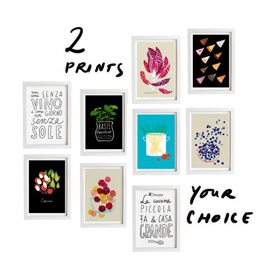 "Your Choice Print Set of 2 - 11""x15"" - Food Art - Kitchen Print Set - archival fine art giclee prints"