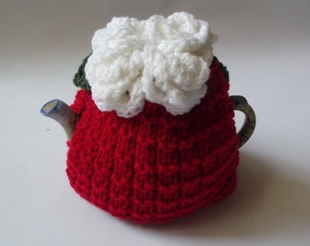 tea  cosie cozy hand knitted with white roses   crochet roses