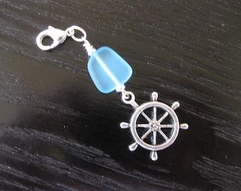 Aqua Sea Glass & Wheel Purse Charm Zipper Pull