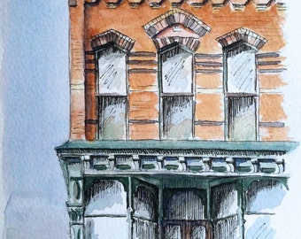 Corning NY Market Street Storefront- Historic Architecture Watercolor Painting- Print of Building