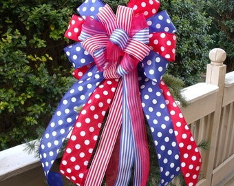 Patriotic Bow, Memorial Day Bow, Wreath Bow, Bow Topper, 4th of July Bow For Wreaths, Red White and Blue