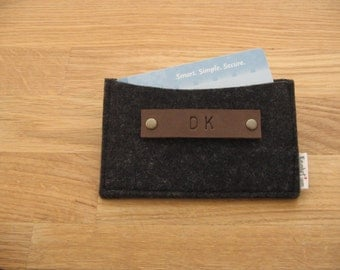 Monogrammed Business Card Holder-Wallet-Eco Friendly Wool felt - Charcoal - Silver Grey- Handmade- Great Gift for men