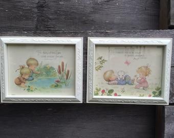 Vintage Picture Frames Boy Girl Bible Verse Psalm