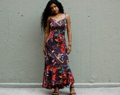 70s Tropical Floral Sundress Small