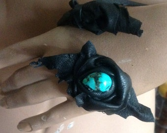 showdiva designs Leather Handlet Wrap Bracelet with Sculpted Roses and Turquoise