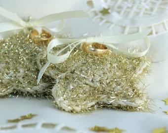 Crochet Golden Star Pillow, Wedding Ring Bearer, Star Pillow Decor, Crochet Star Home Decor, Golden Star Ornament