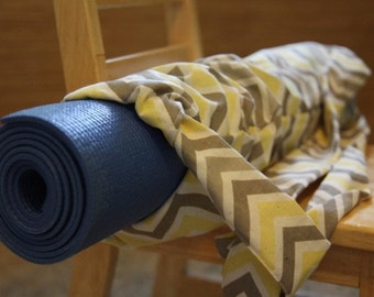 Yoga Bag - Yellow Grey Chevron