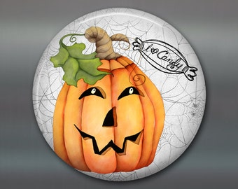 halloween fridge magnet, pumpkin magnet, kitchen decor, jack o lantern halloween decoration, fall magnet  MA-1376