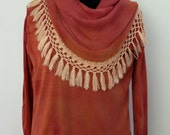 Autumn toned fringed cowl neck silk and cotton sweater