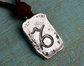 Leather Surfer Necklace With Ancient Zodiac CAPRICORN Distresed Cord