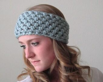 Crochet Headband / Hair Accessory / Ice Blue