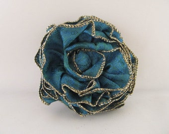 Ribbon Rose Pin-Hair Clip-Brooch-Blue-Teal-Green-Gold