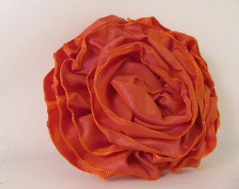 Ribbon Rose Pin-Hair Clip-Brooch-Orange-Irridescent