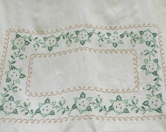 Vintage Ivory Linen Tablecloth Embroidered, cross stitch,  Floral, green
