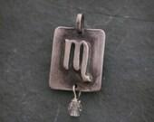 Sterling Silver Scorpio Zodiac Charm With  Birthstone, Charm Necklace, Scorpio Pendant, Horoscope Jewelry, Constellation Pendant