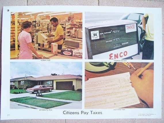 Vintage 70s School Educational Poster-Taxes