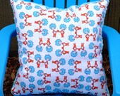 """Child's Pillow - Dr. Seuss Thing 1 and 2 Cotton With Blue Dimple Minky, 14"""" X 14"""""""
