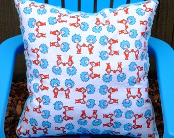 "Child's Pillow - Dr. Seuss Thing 1 and 2 Cotton With Blue Dimple Minky, 14"" X 14"""