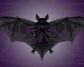 Bat Sugar Skull Print 11x17 print
