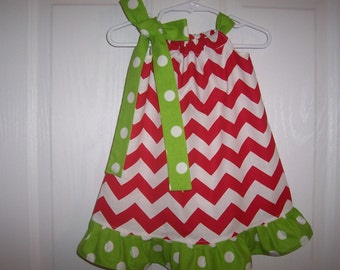 25% discount Girls pillowcase dress Christmas red chevron with choice of color ruffle/tie  infant thru size 8