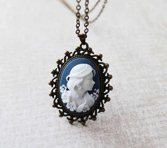 Cameo necklace. victorian lady cameo necklace. girl cameo necklace. filigree tag necklace.