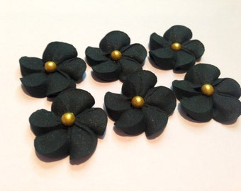 LOT of 100 black  Royal Icing Flowers w/ gold sugar balls for Cake Decorating
