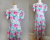 Tea Party Dress Vintage Floral Silk Garden Country 80s Medium