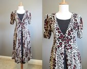 Animal Print Dress Vintage Festival Black 1990s Medium