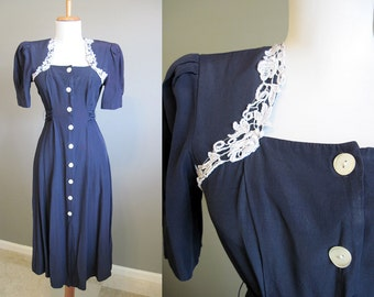 Lace Trim Dress Vintage Navy Blue 1980s Small