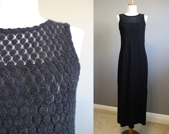 Black Maxi Dress Vintage 90s Goth Festival Medium