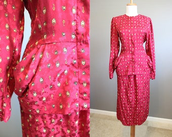 Silk Suit Outfit Vintage 2 Piece Lock and Key Peplum Skirt Top Small