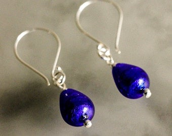 Teardrop Sapphire Venetian Glass Lampwork Silver Foiled with Sterling and Bali Silver-Custom Design Earrings