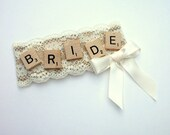 Rustic Bridal Shower Corsage in Burlap and Lace - Ivory Bride Badge - Ready To Ship